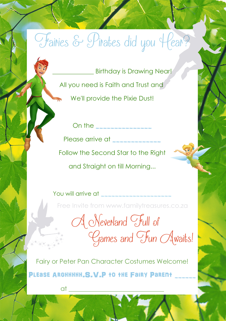 Free Peter Pan AndTinkerbell Invite Template Copy